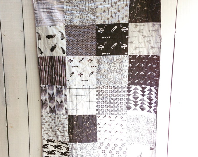 Organic Patchwork Crib Quilt - Organic Cottons - Black and White Prints, MADE TO ORDER