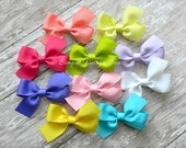 "Set of 10 Hairbows - Dollar Bows - Hair Bow Grab Bag - Assorted Colors - 3"" Bows - Two Loop Pinwheel Bows - 1.00 each"