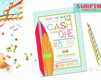 Surfing birthday party invitation, Surfing party printables, Surf Party invite, Surf Birthday Party