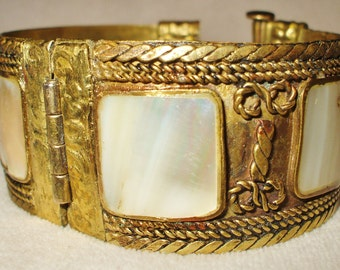 Vintage Old World Brass bracelet with Genuine Mother of Pearl