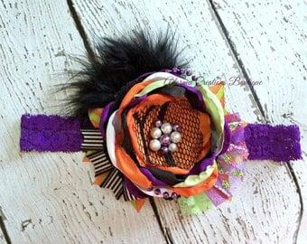 Halloween Fall Headband, girls headband, baby headband, halloween headband, infant headband, purple, black, orange, green