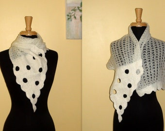 Hand felted knitted nuno scarf White  Wool Merino Art OOAK spotted