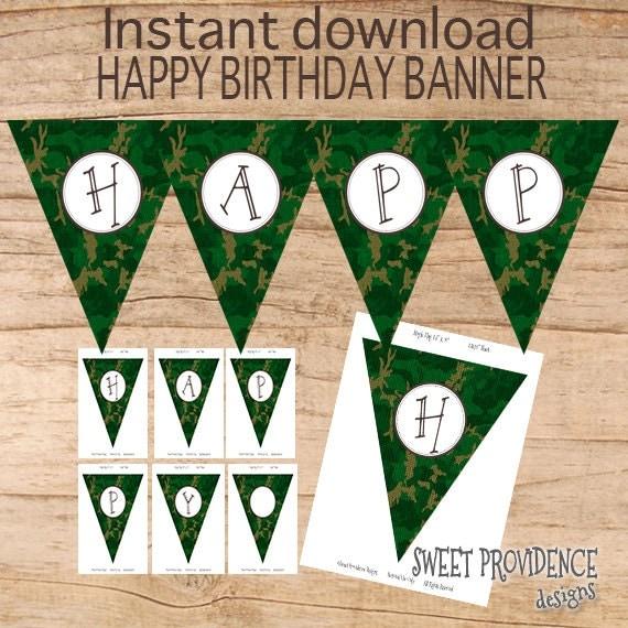 Happy Birthday Banner / Instant Download Camo Baner / Burlap