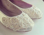 French Pleat  Bridal Ballet Flats Wedding Shoes - All Full Sizes - Pick your own shoe color and crystal color
