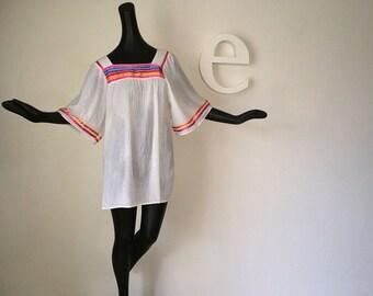 Vintage 70s Swimsuit Hippie Boho Festival Tunic Top Mini Dress Cover Up White Cloth Fabric Gay Rainbow Stripe Ribbon Trim Cole California