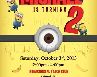 The Minions invite - Minions birthday party - Despicable Me Minions invitation - Digital File - Printable invitation