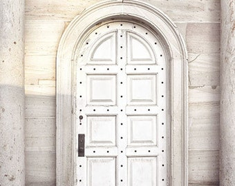 Door Photography- White Door Photo, Architecture Print, Washington DC Travel Photography, Neutral Decor, White Grey Cream Wall Art,