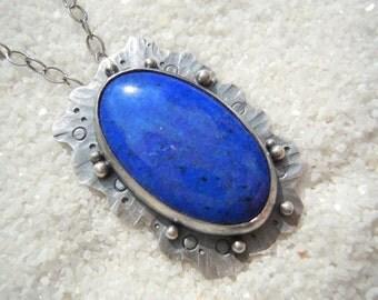 Lapis lazuli Blue and silver necklace Lapis lazuli jewelry Sea jewelry Organic jewelry Artisan jewelry