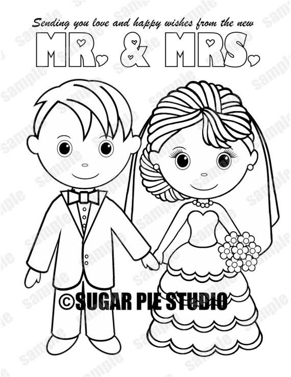 INSTANT DOWNLOAD Printable Bride Groom Wedding coloring page