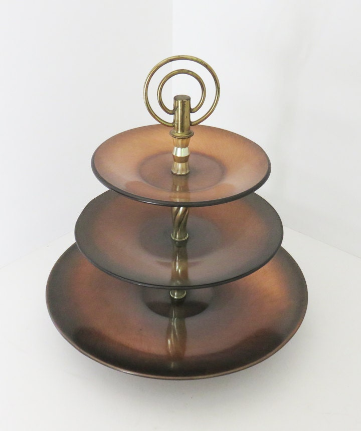 vintage tiered antique copper tidbit serving tray 3 tier copper dessert pastry tray with brass. Black Bedroom Furniture Sets. Home Design Ideas