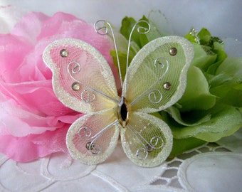 3 inches IVORY Nylon Butterflies for Wedding Decor, Flower Arrangement, Quinceanera, Baptism Favors, Christening Favors, 12 pcs