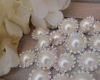 19MM Flatback Rhinestone Pearl Metal Embellishments - Craft Supplies - Wedding Craft Supplies - Crafts - Rhinestone - Pearl