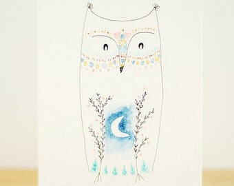 Owl - tiny original watercolor art