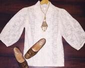 Vtg Ivory Cream Boho 70's Lace Mod Hipster Blouse Top Shirt Sz L