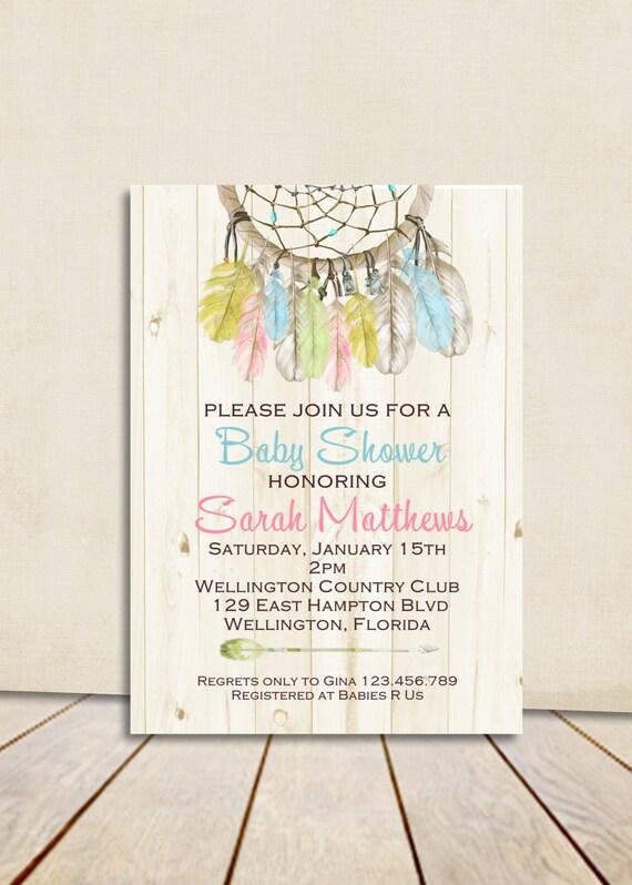 Boho Rustic Wood Dreamcatcher Baby Shower Invitation Gender Neutral Printable Shower Custom Invite
