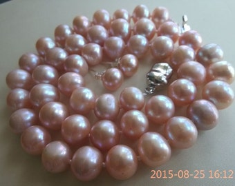 PEARL SET-17inch AA 9-10mm  lavender pearl necklace earrings set  natural color