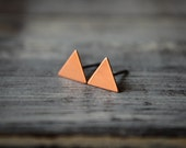 Smooth Triangle Earring Studs in Raw Copper, Stainless Steel Posts