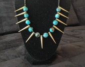 Bead Necklace with Gold Tone Accents
