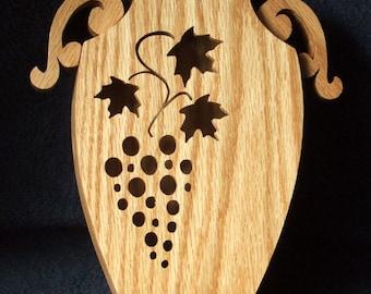 Vase - Grape Cluster - Wooden Vase - Fretwork Vase - Scrollwork Vase