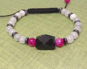 SALE - Handmade Shamballa Stone Bracelet, OOAK, Handcut Black Onyx, White Cats Eye, Hematite, Pink Agate, Adjustable, Arrives Gift Wrapped