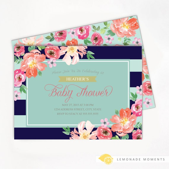 floral baby shower invitation, navy / mint striped watercolor, Baby shower