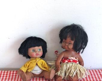 vintage lot of two 1970s hula girls - HULA hawaiian dolls