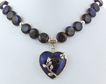 Lapis Lazuli Rose Heart Natural Stone Pendant Necklace