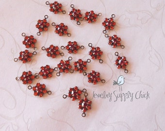Indian Red / Siam Swarovski connector (x6)