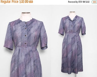 SALE 1970s Sheer Shirtwaist Dress / VIntage 70s Grey Lilac Dress / Small Medium