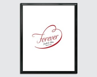 Wedding Guest Book Poster PDF - Forever - Personalized Printable