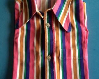 VINTAGE - Multicolor Mod Striped Shirt - 70s - Size:14 1/2/37/S