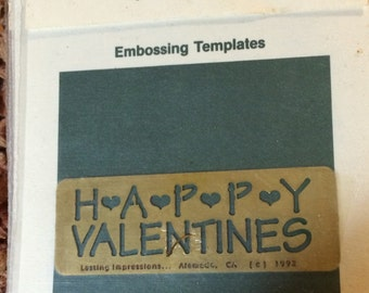 Lasting Impressions  Brass  Happy Valentines  Dry or Wet Emboss  Stencil