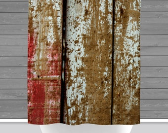 Barnwood Shower Curtain: Rustic Americana Farmhouse Barnwood | 12 Eyelet/Button Hole | Size and Pricing via Dropdown