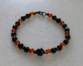 Shungite Amber Black tourmaline and jet bracelet with antique copper accents for men or women