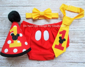 Mickey Mouse cake smash Birthday outfit costume boy first clubhouse I am one Red hat diaper cover bow tie OR Tie twins 12 18 toddler SALE