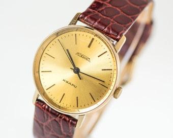 Tomboy quartz watch Rocket, gold plated men's watch, modern boyfriend's watch, light yellow face watch unisex, premium leather strap new