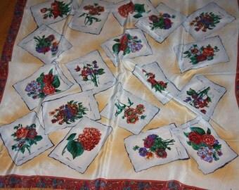 "GINNIE JOHANSEN Signed Silk Scarf 32x32"" P.J Redoute Floral Prints"