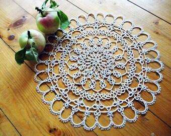 Foodie gift-Tatting lace doily white-Christmas gift-kitchen decor-Housewarming-gift for anniversary-stunning wife gift-gift for grandma