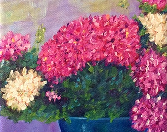 Sale: Geraniums, Original Hand Painted Oil Painting. Fine Art, Home Decor, size 6 x 6 canvas