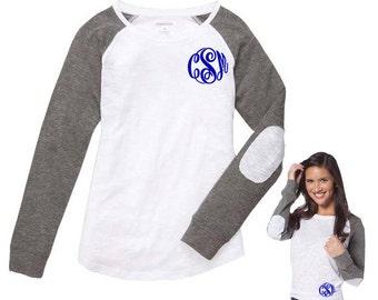 Monogram Long Sleeve T-shirt With Elbow Patch - Personalized Raglan Slub T-Shirt - Mongram Preppy Long Sleeve Tee With Patch Sleeves