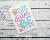 Big Sister Applique Shirt - Big Sister to be - Embroidery Design - Shabby Chic - Birth Announcement - Pregnancy Announcement