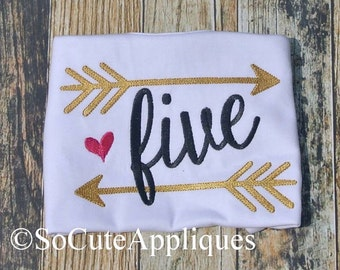 Birthday Arrow Applique Shirt - Feather Design - Shabby Chic Party - # 1-9