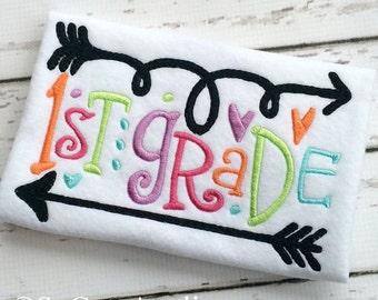 Back to school Applique Shirt - 1st grade -6th Grade - Girl's shirt - Back to School Applique - Applique Design