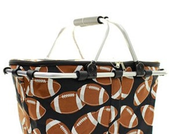 Monogrammed Insulated Market Tote - Carryall Tote - Football Tote - GAMEDAY - Summer Tote - Beach Bag - Cooler Tote - Monogrammed Cooler Bag
