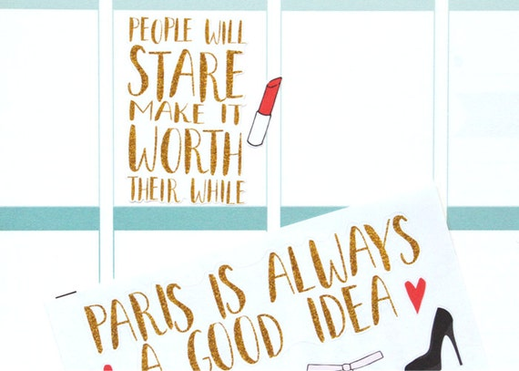 Christmas Quotes And Sayings Glitter Sticker Decal: QT02 I 3 PARIS Gold Glitter Brush Quote Planner By