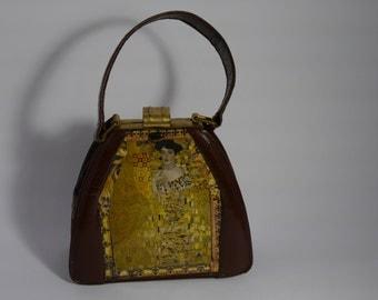 "vintage    handbag 1940's art deco brown leather  "" KLIMT"" french vintage  unique piece retro chic    steampunk bag french touch"