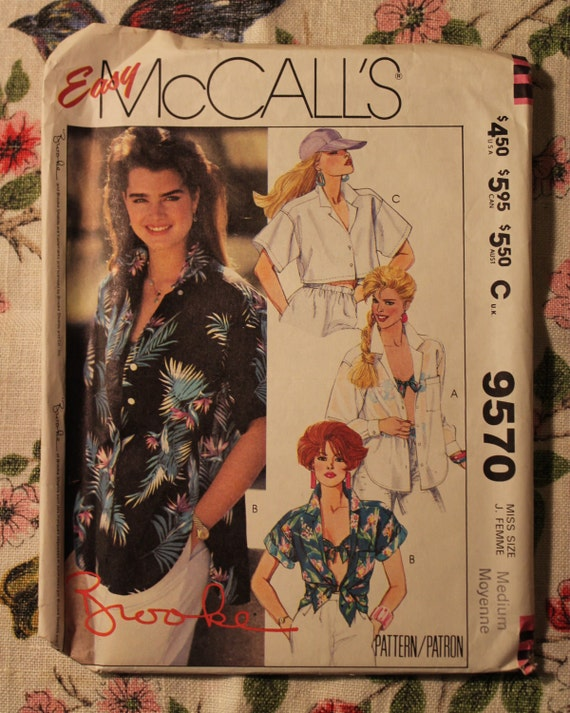 Mccall S Sewing Pattern 9570 Vintage 1985 Brooke Shields