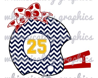 Chevron Football Helmet With Bow and Monogram with SVG, DXF, PNG Commercial & Personal Use
