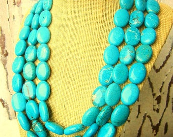 Triple Strand Blue Turquoise Necklace. Chunky Oval Turquoise Howlite Statement Necklace. Multi Strand Turquoise Jewelry. Statement Jewelry