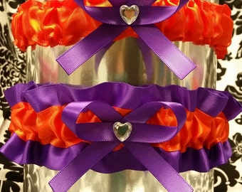 Purple and orange heart garter set, Wedding garter, Prom garter, Tossing Garter, Toss Garter,  burnt orange, purple and orange, keepsake